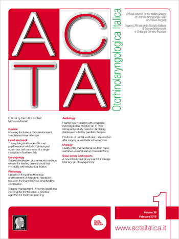 Cover of ACTA Otorhinolaryngologica Italica - Issue 1 - February 2019